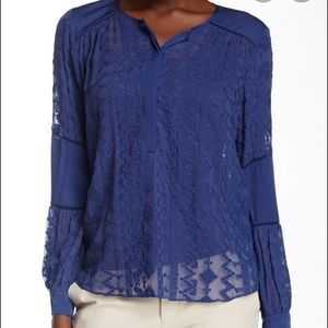 Rebecca Taylor Embroidered Chiffon Silk Blouse
